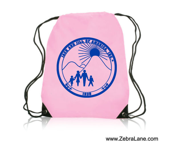 Jack and Jill Pink Lightweight Drawstring Backpack