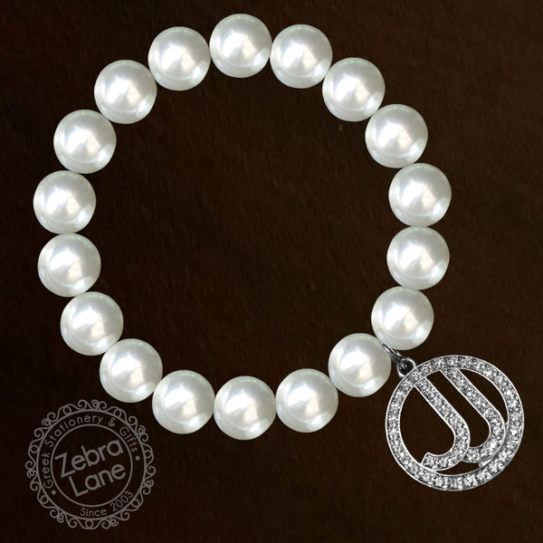 Jack and Jill of America Pearl Bracelet with Circle Crystal Charm