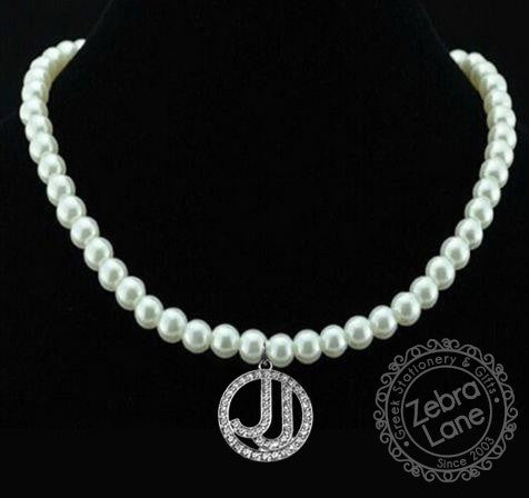 Jack and Jill of America Pearl Necklace with Circle Crystal Charm