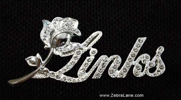 Links Crystal Rose Script Lapel Pin - SMALL - 1.75 inch