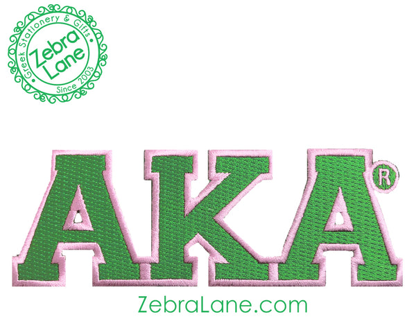 AKA Green Greek Letter Patch - 6 inch