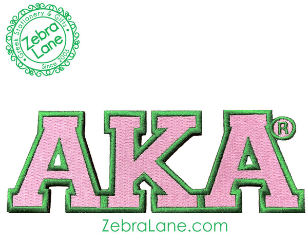 AKA Pink Greek Letter Patch - 6 inch