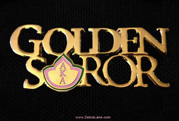 Alpha Kappa Alpha Golden Soror Metal Lapel Pin (Gold Tone)