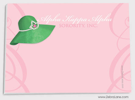 Alpha Kappa Alpha Green Hat/Pink Background Sticky Notes - Set of 5