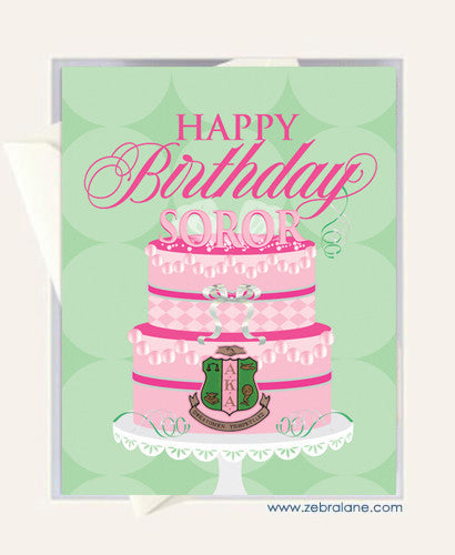 Alpha Kappa Alpha Pink and Green Birthday Cake Cards