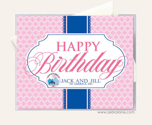 Jack and Jill Pink Birthday Cards