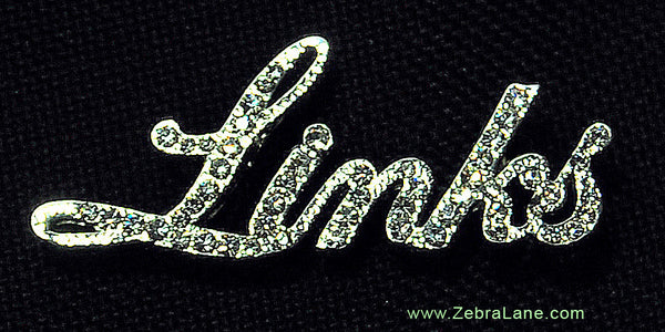 The Links Incorporated Script Crystal Lapel Pin