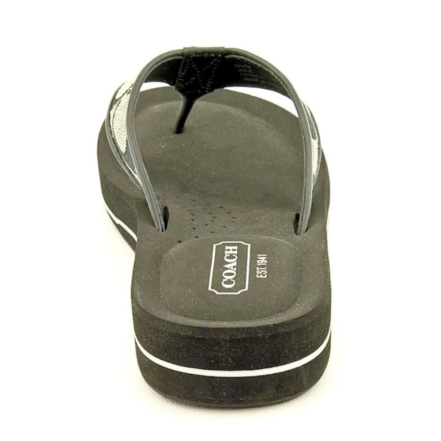 932fcac68c0 COACH JOLIE Womens SIG C Thong Sandal Fabric Leather Flip Flop Shoe BLK   BLK WHT