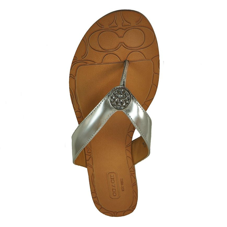 542474297cd COACH SARA Mirror Metallic Thong Sandal Leather Flip Flop Womens Shoe Silver