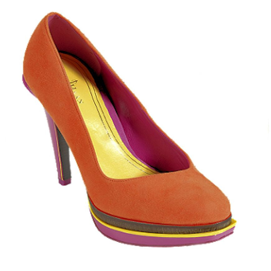 20feb339ab0 Cole Haan Chelsea Double Platform Pump Leather Womens Heel Orange ...