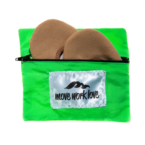 Neon Green Rhythmic Gymnastic Toe Shoe and Sock Bag