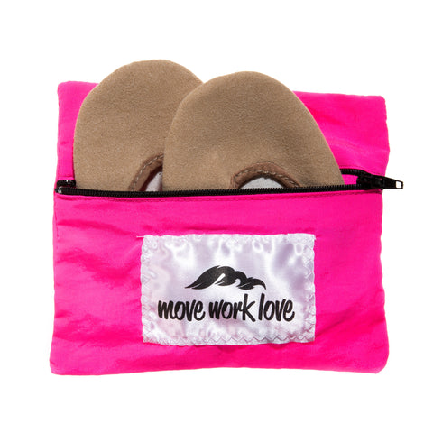 Neon Pink Rhythmic Gymnastic Toe Shoe and Sock Bag