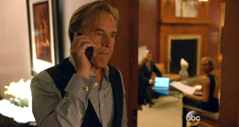 "Don Johnson as ""Happ Briggs"" wearing our 18k Gold Palymra Cuff Links with Iolite in ABC's new drama BLOOD AND OIL. A BREVARD original."