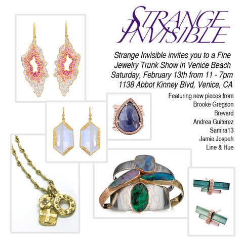 Brevard Jewelry pop up trunk show invite at Strangle Invisible in Venice Beach California • February 13 2016
