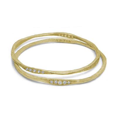 Gold 10 Stone Hammered Bangle with Diamonds-Brevard