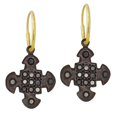 13 Stone Black Diamond Pavé Cruz • Endless Hoop Charm Earring-Brevard
