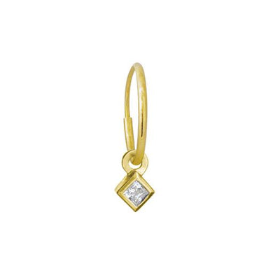 Gold 2.5 MM Diamond Bezel Drop • Endless Hoop Charm Earring-Brevard