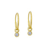 Gold 2.25 MM Round Bezel Drop • Endless Hoop Charm Earring-Brevard