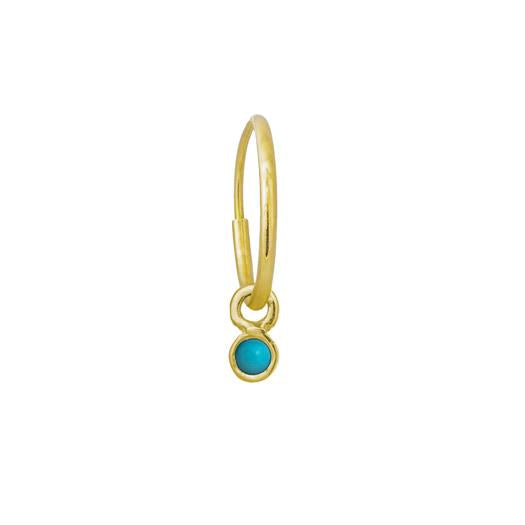 Gold 2.25 MM Turquoise Round Bezel Drop • Endless Hoop Charm Earring-Brevard