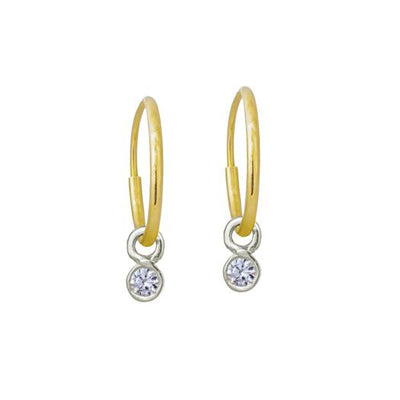 2.25 MM Round Bezel Drop • Endless Hoop Charm Earring-Brevard