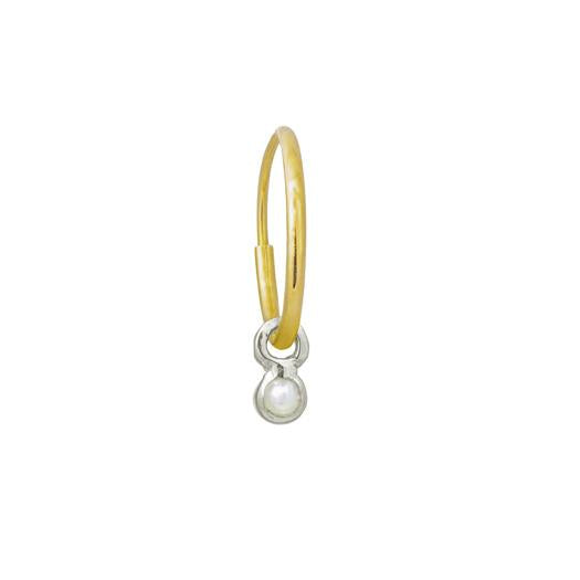 2.25 MM Round Pearl Bezel Drop • Endless Hoop Charm Earring-Brevard