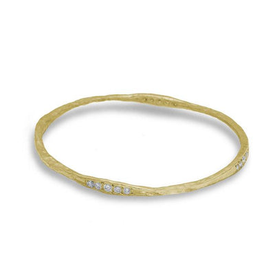 Gold 20 Stone Hammered Bangle with Diamonds-Brevard