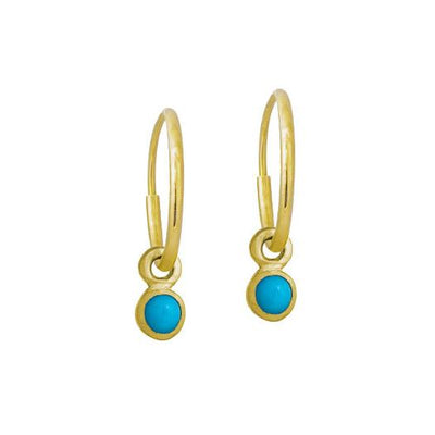 Gold 3 MM Turquoise Round Bezel Drop • Endless Hoop Charm Earring-Brevard