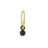 3 MM Black Diamond Round Bezel Drop • Endless Hoop Charm Earring-Brevard