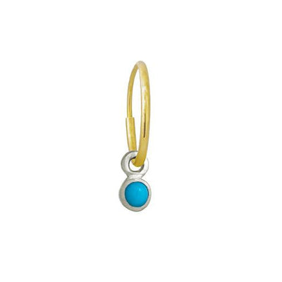 3 MM Turquoise Round Bezel Drop • Endless Hoop Charm Earring-Brevard