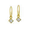 Gold 3 MM Diamond Bezel Drop • Endless Hoop Charm Earring-Brevard
