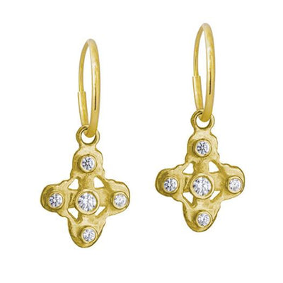 Gold 5 Stone Tiny Signature Cross • Endless Hoop Charm Earring-Brevard