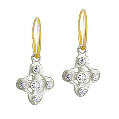 5 Stone Tiny Signature Cross • Endless Hoop Charm Earring-Brevard