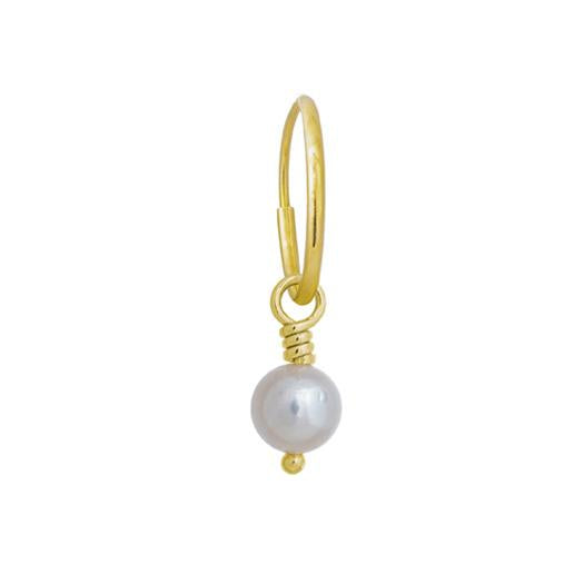 5 - 5.5 mm White Pearl Drop • Endless Hoop Charm Earring-Brevard