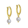 5 - 5.5 mm White Pearl Drop • Latch Hoop Charm Earring-Brevard