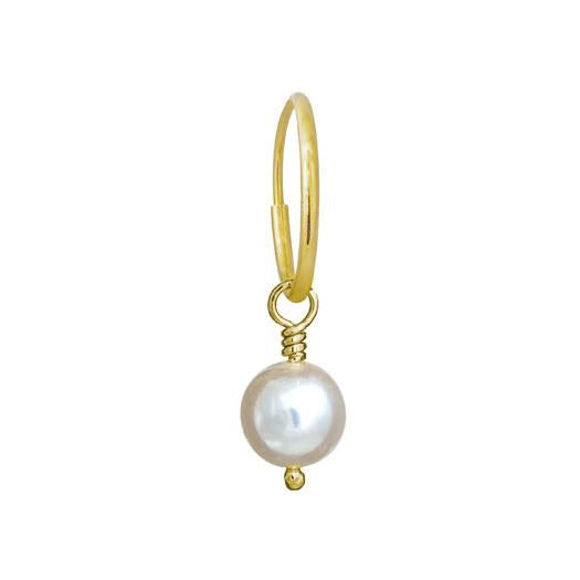 6 - 6.5 mm White Pearl Drop • Endless Hoop Charm Earring-Brevard