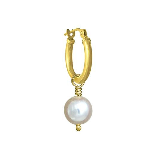 6 - 6.5 mm White Pearl Drop • Latch Hoop Charm Earring-Brevard