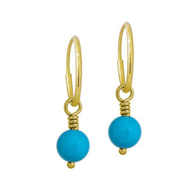 6 - 6.5 mm Turquoise Drop • Endless Hoop Charm Earring-Brevard