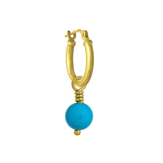 6 - 6.5 mm Turquoise Drop • Latch Hoop Charm Earring-Brevard