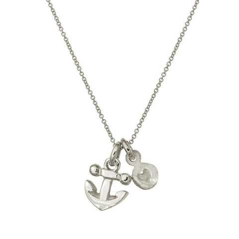 Anchor + Tiny Heart Double Charm Necklace-Brevard