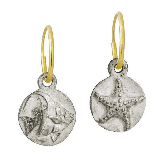 Anglefish with Starfish • Mismatch Endless Hoop Charm Earring Pair-Brevard