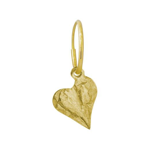 Gold Apollo Heart • Endless Hoop Charm Earring-Brevard