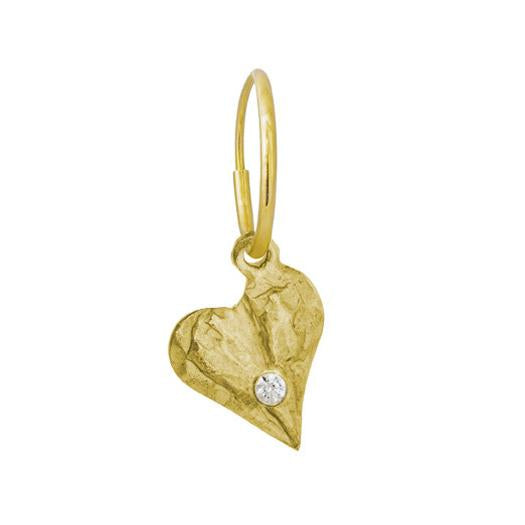 Gold Apollo Heart with Stone • Endless Hoop Charm Earring-Brevard