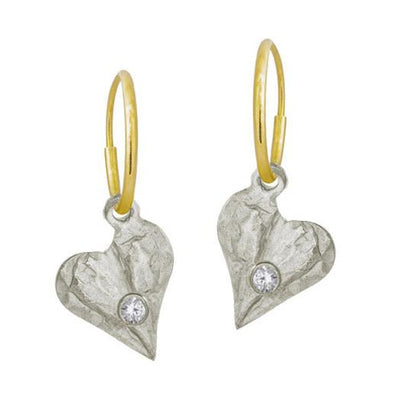 Apollo Heart with Stone • Endless Hoop Charm Earring-Brevard