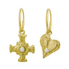 Gold E.T. Cross & Apollo Heart with Stones • Mismatch Endless Hoop Charm Earrings-Brevard