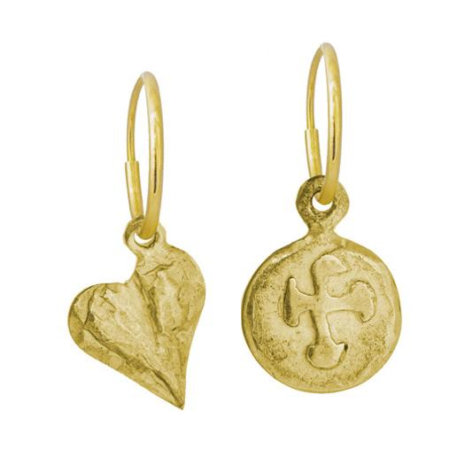 Gold Marina Cross + Apollo Heart Mismatch Earring Pair-Brevard