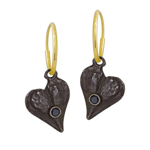 Apollo Heart Earring with Black Diamond-Brevard