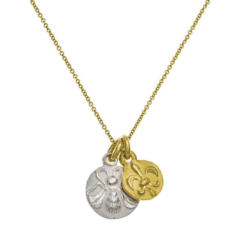 Two-Tone Avignon Double Charm Necklace-Brevard