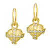 Gold Temple Heart Earring with Stones-Brevard