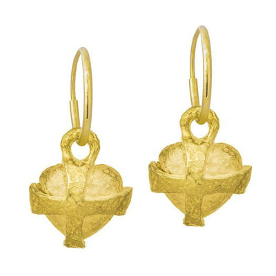 Gold Temple Heart • Endless Hoop Charm Earring-Brevard