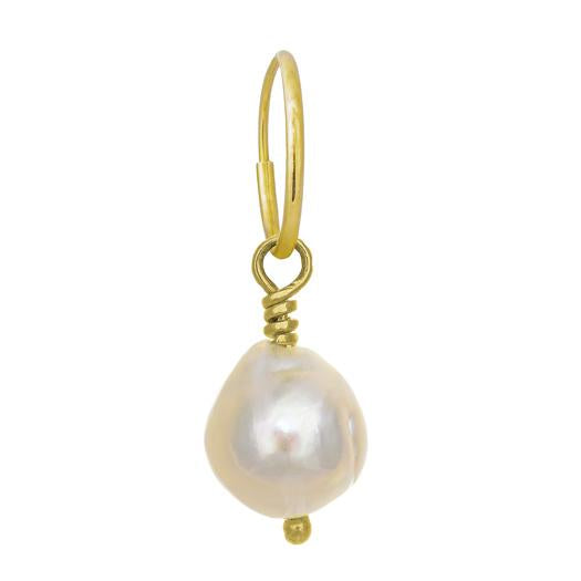 White Baroque Pearl Drop Earring-Brevard